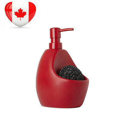 Umbra Joey Ceramic Soap Pump and Scrubby Holder Combo, Red