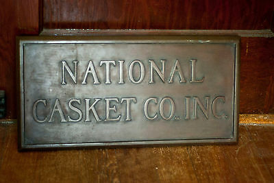 Rare National Casket Co. Bronze Building Plaque Sign Oddity Funeral Embalming