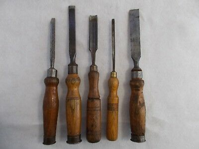 Collection of 5 Vintage Wooden Handle Chisels
