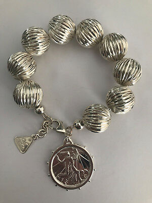 100% Authentic VON TRESKOW - Stg Silver Corrugated Bracelet w/ Art Deco Coin