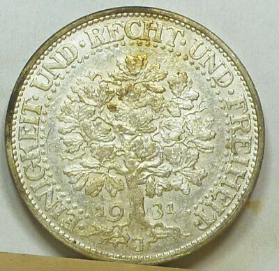 Germany Weimar 5 Mark 1931-J Oaktree Almost  Uncirculated NO RESERVE