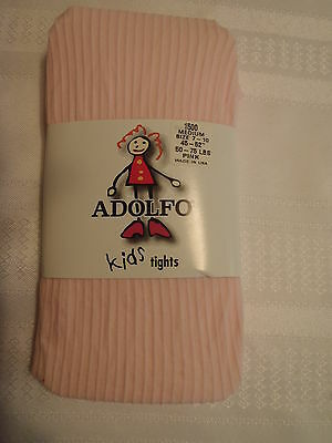 ADOLFO Girls Size 7-10 Pink Nylon Spandex Tights NWT