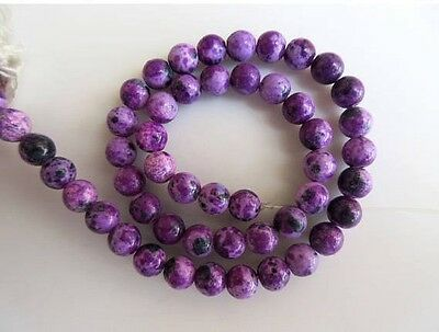 Lab Created Charoite Large Hole 8mm Smooth Round Mala Beads 15 Inches GDS583