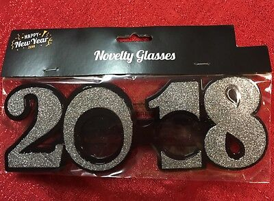 2018 Graduation New Year Wedding Photo Booth Prop Party Glasses Silver Glitter