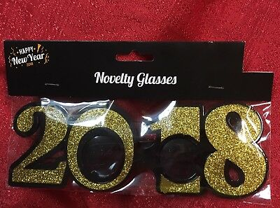 2018 Graduation New Year Wedding Photo Booth Prop Party Glasses Gold Glitter