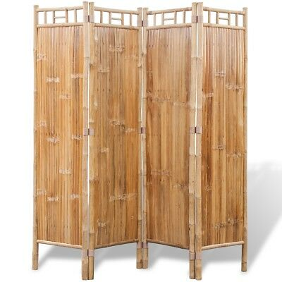 vidaXL Bamboo Room Divider 4 Panels Folding Screen Home Decoration Brown