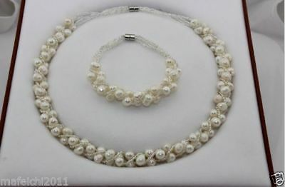 Natural Freshwater Pearl jewellery Necklace Bracelet Set Magnetic clasp