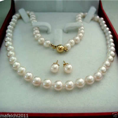 8-9MM Real Natural White Akoya Cultured Pearl 14K GP necklace earrings set+BOX