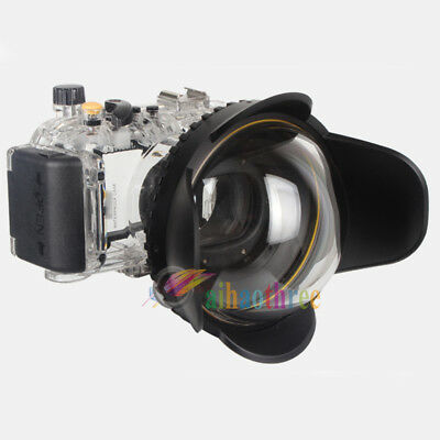 Meikon 40M Waterproof Diving Case + Fisheye Wide Angle Dome Port For Canon S95