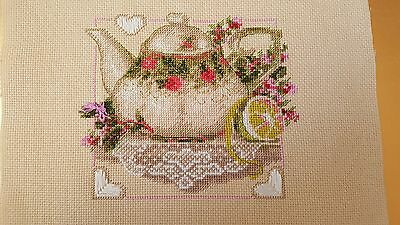 "New cross-stitch embroidery ""tea with lemon"" finished"