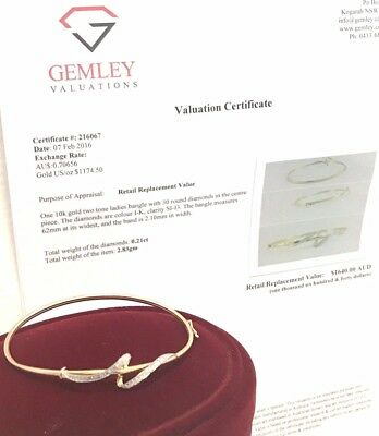 Genuine Real Elegant 10ct 10k Yellow Gold 30x DIAMOND Clip Oval Bangle