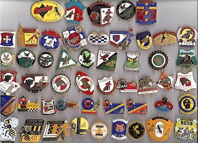 Skid Marks.Fifty Speedway Badges..............Big Car Boot Bonanza Right Here
