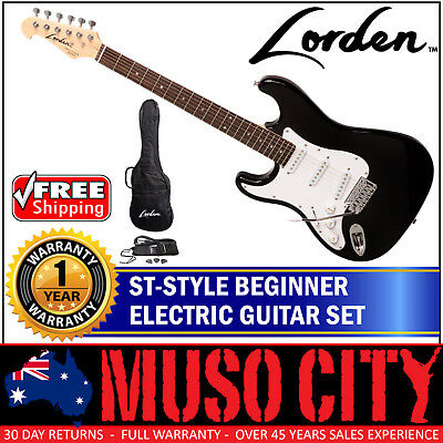 New Lorden Left Handed Beginner Full Size ST Style Electric Guitar Set (Black)