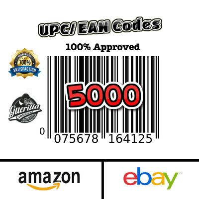 5000 UPC Codes Brand New Unused Codes Fast Shipping