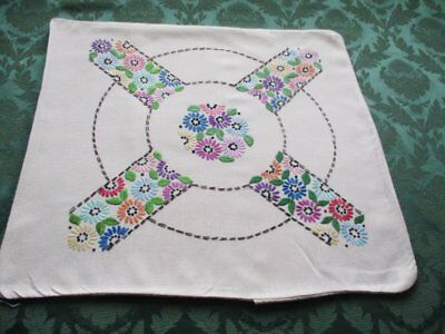VINTAGE CUSHION COVER-HAND EMBROIDERED with FLOWERS