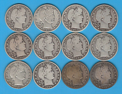 Lot of 12 Barber Silver Half Dollars - Some Very Nice