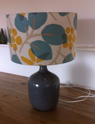 Retro Mid Century Style Table Lamp with 1960's Style Shade Grey Ceramic