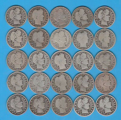 Lot of 25 Barber Quarters - Some Very Nice