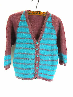 Vintage Mauve Purple & Teal Turquoise Blue Fluffy Mohair Cardy Cardigan - 10 12