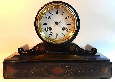 French 8 Day Striking Mantel Clock Working Decorated Black Stone