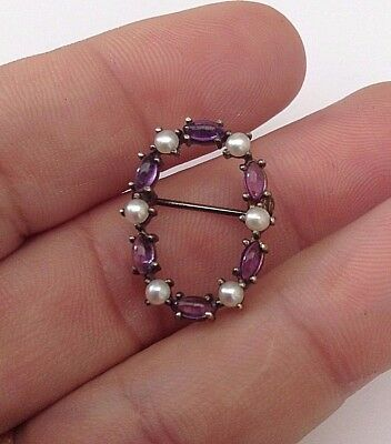 Silver Old Amethyst And Pearl Brooch Fantastic Gorgeous