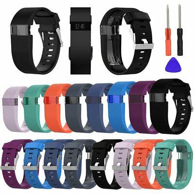 Replacement Silicone Wristband Strap Band Bracelet w/ Tools For Fitbit Charge HR