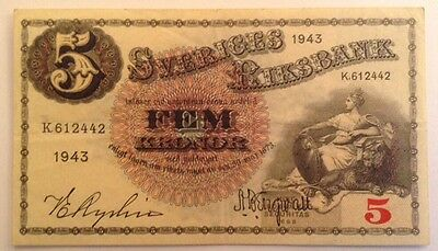 Sweden Banknote. 5 Kronor. Dated 1943