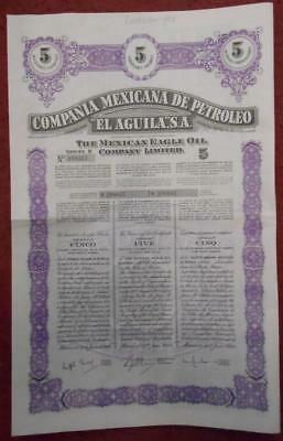 31238 MEXICO 1949 Mexican Eagle Oil 5 shares certificate with coupons