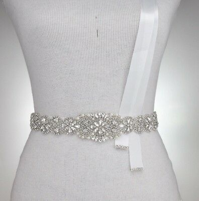 Bridal Bridesmaids Dress Rhinestone Crystal Pearl Sash Ivory Ribbon Belt 57cm