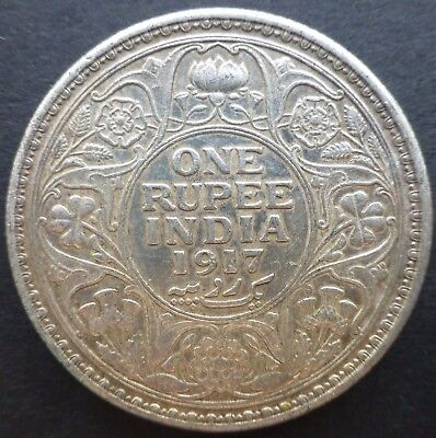 British India 1917 One Rupee Silver Coin