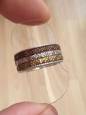 Silver Triple Spinner Ring 3 In 1 Fabulous Wide Band