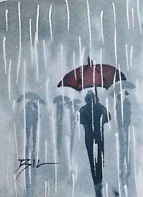 ACEO Original Art Watercolour Painting by Bill Lupton - Pouring Down