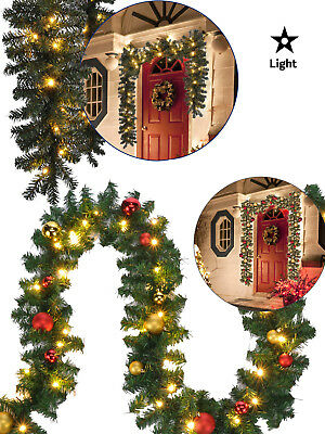 2.7m + 5m Pre Lit Christmas Garland Decoration Baubles With LED Lights Outdoor