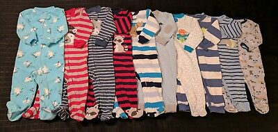 ~ x10 Piece Lot Boys 6-9 Months & 9 Months Clothing Sleepers Pajamas ~