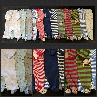 ~ x12 Lot Baby Boy's Clothes Sleepers Pajamas Size 0-3 Months, 3 Months ~