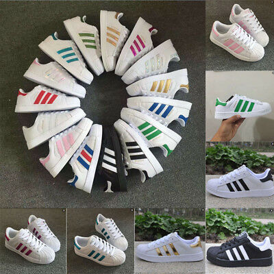 Fashion Mens Women's Leather Casual Lace Up Sneakers Trainer Shoes Superstar Set