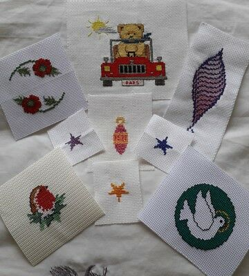 Completed cross stitch card toppers
