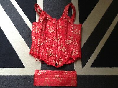Handmade Red Corset/basque Top To Fit Size 10/16 Approx Chinese Style Design