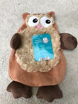 Country warmers hot water bottle with super soft novelty Owl cover beige brown