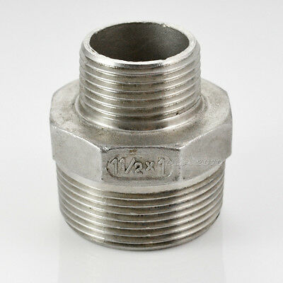 "1Pc 1-1/2""x1"" Male Hex Nipple Threaded Reducer Pipe Fitting Stainless Steel 304"