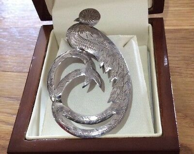 Old Vintage Art Deco Gorgeous Engraved Silver Large Peacock Brooch Pin Signed