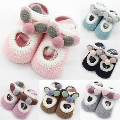 Toddler Kids Baby Girls Boys Anti-Slip Socks Newborn Cartoon Warm Shoes Slipper