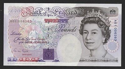 Gill Faraday £20 banknote (1991) Low Number A01 Prefix First Run Unc B358