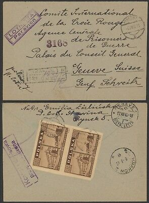 Poland 1946 - Registered air mail cover to Geneva Switzerland - Red Cross 24340