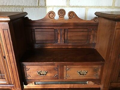 Antique walnut bureau - small bureau with delicate detail and leather inlay top