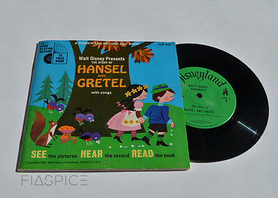 """Hansel and Gretel Disney See Hear Read book and record #317 7"""" vinyl Vintage 60s"""