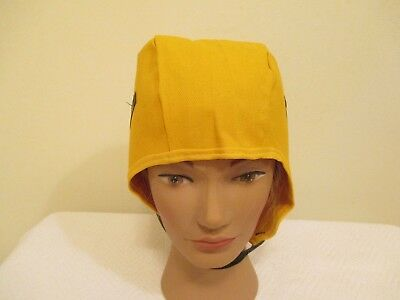 New Fire Retardant Hard Hat Liner Cap Yellow One Size Fits Most w/ Chin Strap