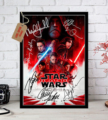 STAR WARS THE LAST JEDI 2017 Cast Signed Movie Poster Print A4