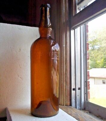 "Huge 23""hand Blown French Chartreuse Emb Saloon Display Bottle Amber Glass"