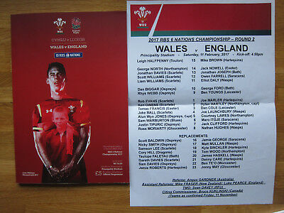 Wales V England Rbs 6 Nations 11.02.17 Programme Plus Teamsheet